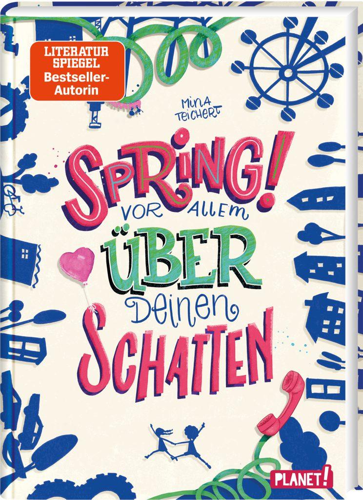 """Das Cover zu """"Spring! Vor allem über deinen Schatten"""". Darauf sind Umrissfiguren verschiedener Gegenstände zu sehen."""