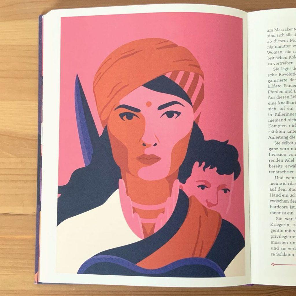 """Eine Illustration von Lakshmibai aus dem Buch """"Kickass Women"""""""